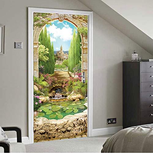 lili-nice Architecture Arche Beau Jardin Style 3D Porte Autocollants Décor À La Maison Salon Chambre Chambre Canapé TV Toile De Fond Décorer DIY 77 * 200Cm