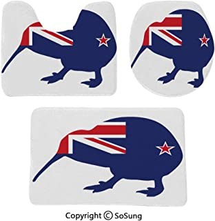 3 Piece Bathroom Rug Set Bath Rugs Indigenous Bird Silhouette with New Zealand National Flag Dark Blue Vermilion White Contour Mat & Lid Cover Non-Slip with Rubber Backing