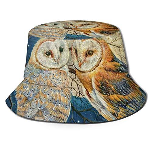 XCNGG Sombrero de Pescador Unisex para Adultos, búhos, Estrellas de la Luna, Sombrero de Cubo, Gorra para el Sol Plegable, protección máxima para los Rayos UVA, Pesca, jardinería, Sender