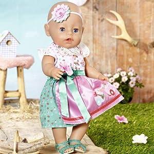 Zapf Creation 828748 BABY born Dirndl Puppenkleidung für besondere Anlässe und Feste, 43 cm, 5-teiliges Set