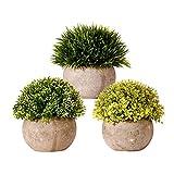 Homvik Plantas Flores Artificiales En Maceta 3 PCS para Decoración Oficina Hogar Dormitorio Sala de Estar Baño Cocina Balcón Mesa y Otras Decoraciones de Muebles Etc
