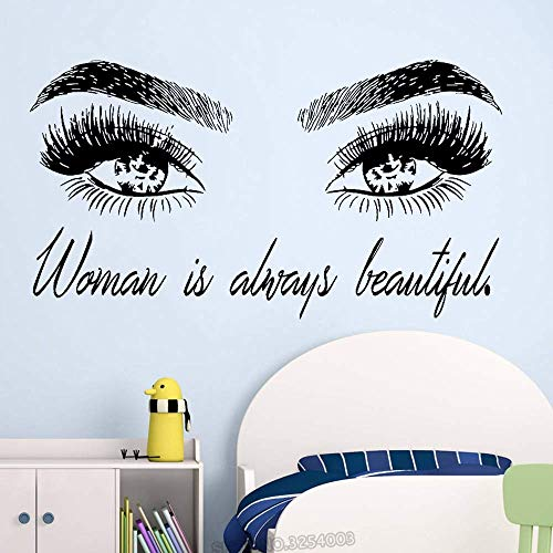Femme Make Up Wall Sticker Eye Eyelashes Wall Decal Lashes Extensions Beauty Shop Decor Sourcils Brows Mural Beauty 56x102cm