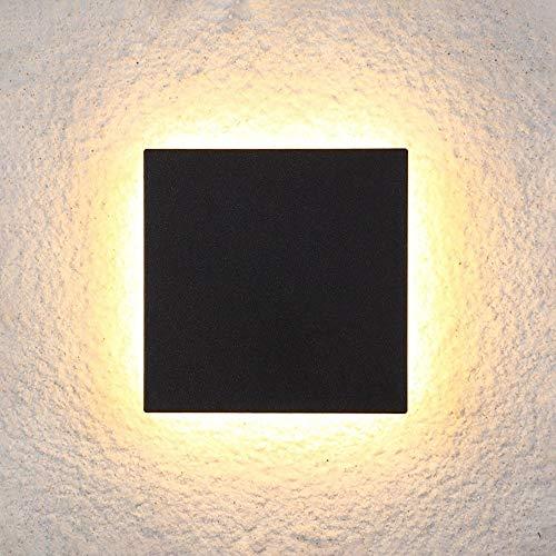 Yangmanini Plaza Creativo Cuadrado LED Redondo Impermeable al Aire Libre Simple luz del jardín de la lámpara de Pared Villa Jardín 15 * 15cm 1 / PCS