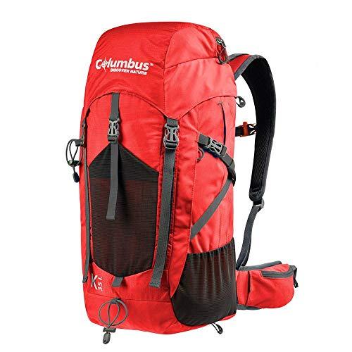COLUMBUS Sac à Dos K 35 litres Sac de Voyage 35L Backpack Camping Trekking Couleur Rouge Randonnée