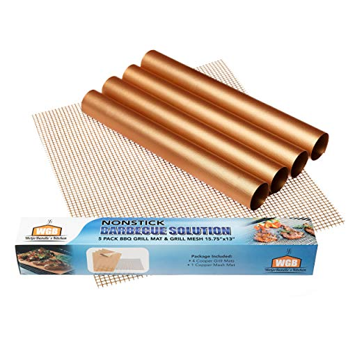 Non-Stick BBQ Grill Mat Copper - Set of 5 Copper Grill Mats for Outdoor Grill Reusable Heavy Duty for Electric Grill Gas Charcoal Grill 15.75 X 13 inch Baking Mats