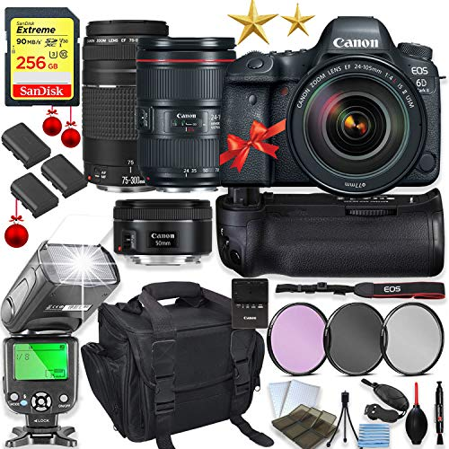 Best Bargain Canon EOS 6D Mark II DSLR Camera with 24-105mm f/4L II Lens Kit + 75-300 III & 50mm f/1...