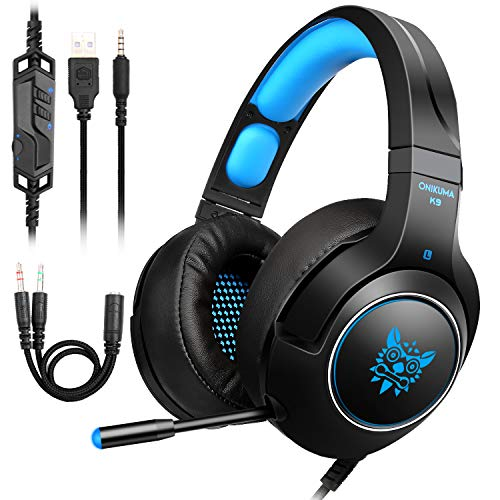 Auriculares Gaming para PS4, PC, Xbox One, Cascos Gaming con puerto jack 3.5 mm Auriculares estéreo para juegos con Micrófono y luz LED, sistema de cancelación de ruido y control de volumen