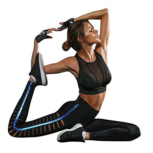 Womens Yoga Broek Actieve Zuig zweet Zelfkweek Ademende Hardlopen Leggings Gaten Blauw Heldere kant Holle perspectief sport Panty