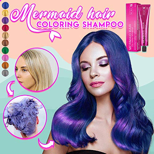 Mermaid Hair Coloring Shampoo, Mild Safe Hair Dyeing Shampoo for All Hairs, One-time Molding Paste Dye Cream Hair Gel Red