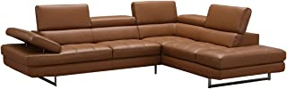 A761 Italian Leather Right Hand Facing Sectional Sofa in Caramel