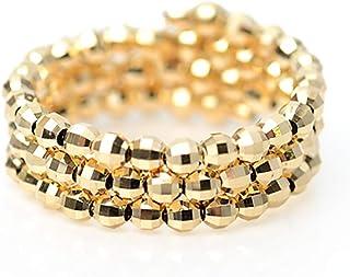 K18 18金 イエローゴールド ミラーボール コイル リング 形状記憶 チタンワイヤー入り フリーサイズ K18 スパイラル 指輪