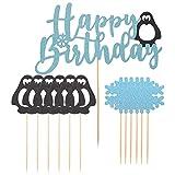 STOBOK 13 Piezas de Adorno de Pastel de Pingüino Feliz Cumpleaños Cupcake Toppers Banner Navidad Copo de Nieve Animales Polar Árticos Decoraciones para La Decoración del País de Las