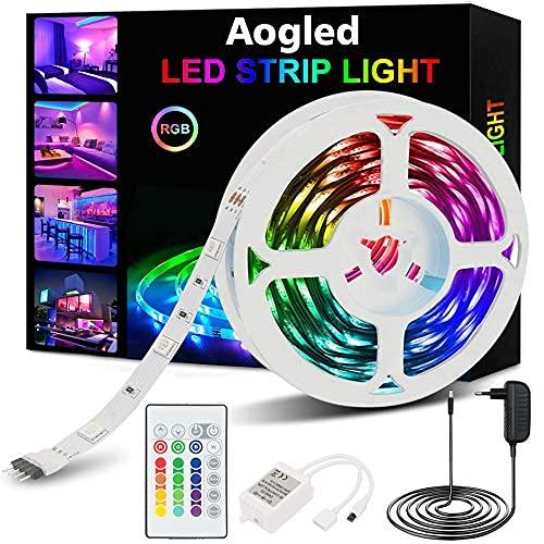 Aogled Striscia LED 5m,kit Cambio Colore RGB 5050LED con Telecomando a 24 pulsanti,Strisce Luminose con Controller,Strisce LED adatta per la decorazione di interni come camera da letto, soggiorno