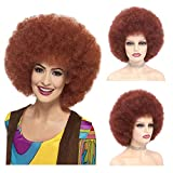 Rofuliny Kinky Curly Short Afro Wigs Reddish Brown Color 8 Inches Synthetic Wig for Black Women 180 Density Heat Resistant Fiber African American Wigs