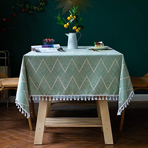 AMITRIS Tischdecke mit hochwertigen amerikanischen Quaste, rechteckige Tischtuch, Leinen Tischdecke, Abwaschbare Leinendecke für Wohnzimmer Küche Tischdekoration(Grün, 140x200)