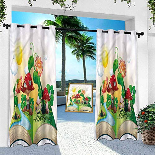 Aishare Store Outdoor Waterproof Curtains, Cartoon,Pop up Book Mushroom House, 95 Inches Long Sunlight Blackout Insulated Drapes for High Ceiling Patio Door/Front Porch(1 Panel)
