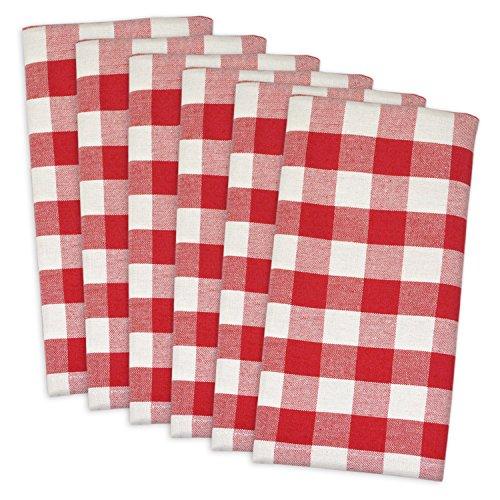"DII 100% Cotton, Oversized Basic Everyday 20x20"" Napkin Set of 6, Red & White Check"