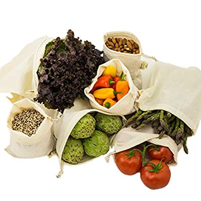 Simple Ecology Reusable Organic Cotton Muslin Grocery Shopping Produce Bags (heavy duty, washable, produce saver bags, food storage, bulk bin, tare weight tag, drawstring)