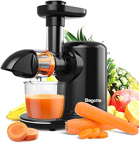 Slow Masticating Juicer, Bagotte Juicer Machines, Higher Juice Yield and Drier Pulp, Easy to Use and Clean, 150-Watt, Quiet Motor & Reverse Function, For Vegetables and Fruits, BPA-Free