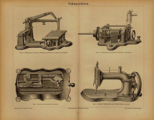 Nähmaschinen. Antiker Stich von 1874.