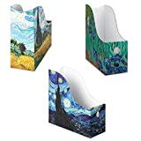Set of 3 Assorted: 1 each of Starry Night, Irises, Cypress Wheatfield magazine holders and adhesive labels. Decorative magazine file holder, file folder bin storage organizer, pretty file box holder. Looks Amazing! Stunning Impressionist artwork, wat...
