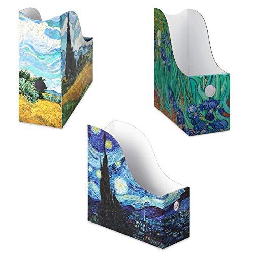 Dunwell Cardboard Magazine Folder Holders - (6 Pack, Assorted), Stunning Impressions Design, Magazine Organizer, Folder Organizer, Storage Box, Book Bins, Desk File Holder Organizers