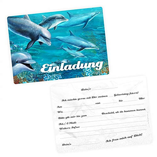 5 Einladungskarten Delfine mit GLITZER inkl. 5 Briefumschlägen - Kindergeburtstag Mädchen blau Fische Meer