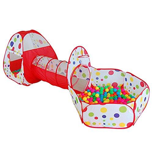 XinYunDa - Tienda de campaña para niños con canalización de gateo, enorme juego de casa de bebé, patio de bolas