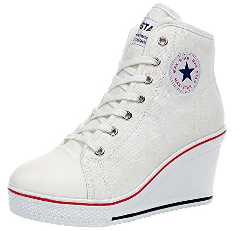 Wealsex Mujer Cuñas Zapatos De Lona High-Top Zapatos Casuales Encaje Talla Grande (Blanco,35)