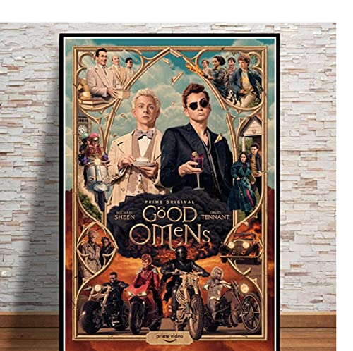 Bon présage Neil Gaiman Série TV Show 2019 Film Toile Peinture à l'huile Affiche Imprime Mur Art Photos Salon Décor À La Maison-60x80cm pas de cadre