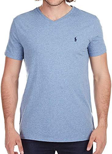 Polo RL Men's Classic Fit V-Neck T-Shirt (Cobalt Heather, Small)