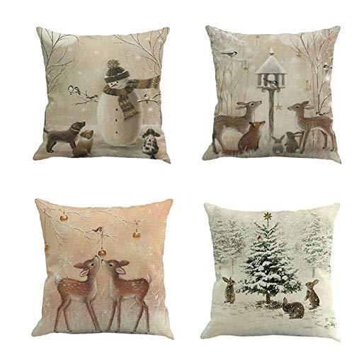 Gcroet Elk Funda De Almohada, Funda De Almohada Inicio, Lino Almohada Fundas De Colchón, El Árbol De Navidad del Copo De Nieve