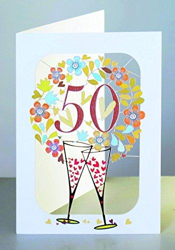 FOREVER Goldhochzeit 50 Geburtstag Laser Cut Karte 3D Blumenkranz Sekt 16x11cm
