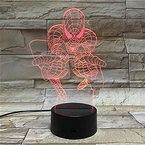 3D Hollywood Movie Comics Superhéroe Heros Spider Navidad Niños Regalo Hombre Lámpara de mesa Dormitorio 3D Luz de noche Niño