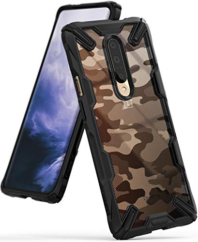 Ringke Fusion-X DDP fürs OnePlus 7 Pro Hülle, Militär Muster Rückseite mit Verbesserter TPU Silikon Bumper Schutz - Camo Black