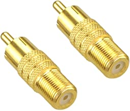 VCE 2-Pack F Type Female to RCA Male Coaxial Cable Audio Adapter Connector,Gold Plated