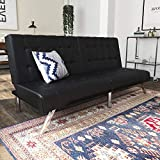 DHP Emily Futon With Chrome Legs, Black Faux Leather