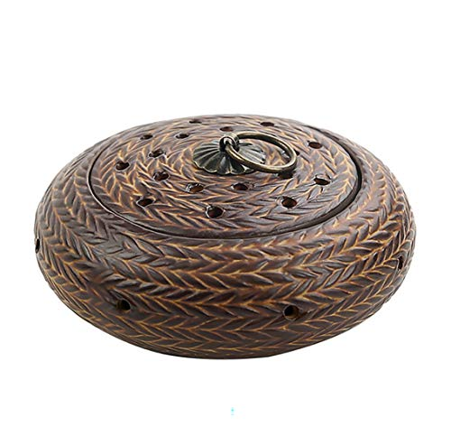 Limited Supply GJRD Chinese Ceramics Woven Incense Burner Censer Coil Incense Burner Incense Box Zen Incense Burner with Cover car Home Decoration Meditation Relaxation Yoga air Purification