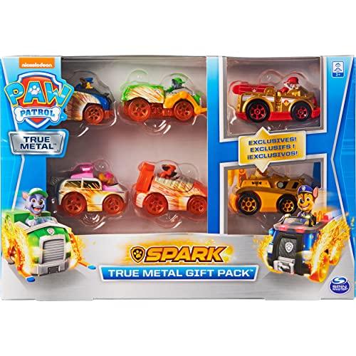 Paw Patrol True Metal Set de Regalo con Seis vehículos de Metal, versión Spark