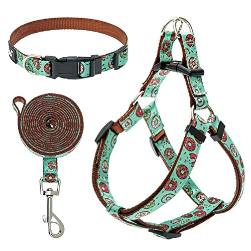 PUPTECK No Pull Dog Harness and Leash with Collar - Adjustable Dog Harness for Small Dogs Boys and Girls, with Cute Donut Pattern, Durable Basic Puppy Step in Vest Harness for Walking