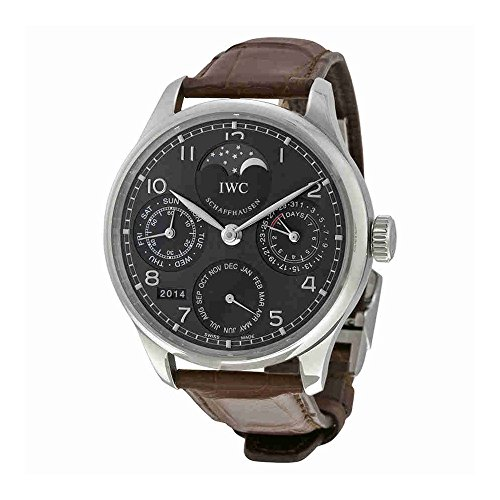 IWC Portuguese Automatic Grey Dial 18kt White Gold Brown Leather Mens Watch IW502307