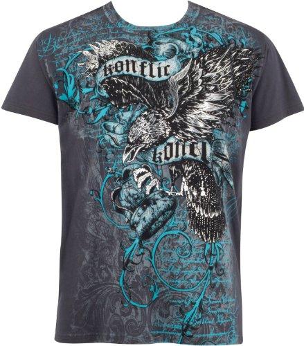 EagleCrown045 Aigle trônant sur Couronne en Relief Argent métallique Manches Courtes Col Rond Coton T-Shirt Fashion Homme - Gris/XL
