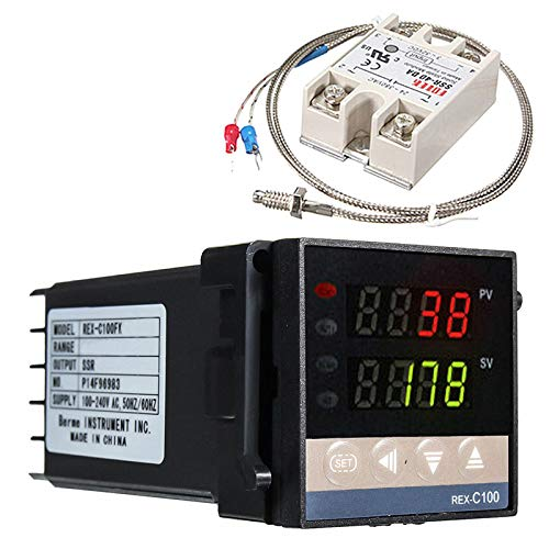 Regolatore di temperatura digitale REX-C100, 0 ℃ ~ 1300 ℃ allarme PID regolatore di temperatura Kit Digital Intelligente Termostato Relè Uscita con Termoelemento K Sensore di temperatura