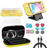 Funda para Nintendo Switch Lite, Whasoo 8 en 1 funda de transporte incluye cable tipo C, protector de pantalla, fundas Joy Con, soporte de ranura para tarjeta de juego, cubierta de TPU