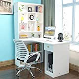 47 Inch Computer Desk for Living Room, Bedroom, Home Office Desk Bookcase with 10 Shelves and Drawer, Portable Laptop PC Notebook Desk Gamer Workstation Modern Simple Study Writing Table (White)
