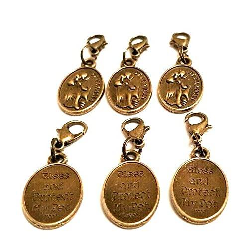 6 medallas de St Francis Patron St Of Animals 'Bless & Protect My Pet' Collar Medallas Gatos Perros Conejos Aves Jaulas