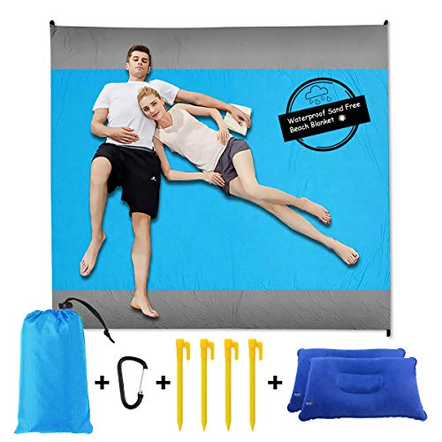 Sand Free Beach Blanket Mat - 82''×79'' 【Include 2 pcs Inflatable Pillow】Waterproof Travel Hiking Camping Picnic Mat Outdoor Large Beach Blanket Sand Proof with Drawstring Carrying Bag - Blue