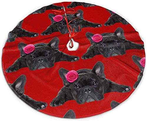 nuoyan Cute French Bulldog Dog with Valentines Rose On Head Christmas Tree Skirt Snowflakes Tree Skirt Circle Gorgeous Xmas Tree Mat Holiday Party Decorations 30IN