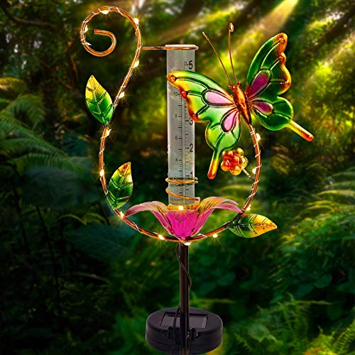 Juegoal 31.5 Inch Rain Gauge, Solar Powered Lighted Butterfly Garden Stakes Decor with 16 LED Warm White Copper Lights, Metal Yard Art Outdoor Lawn Pathway Patio Decorations