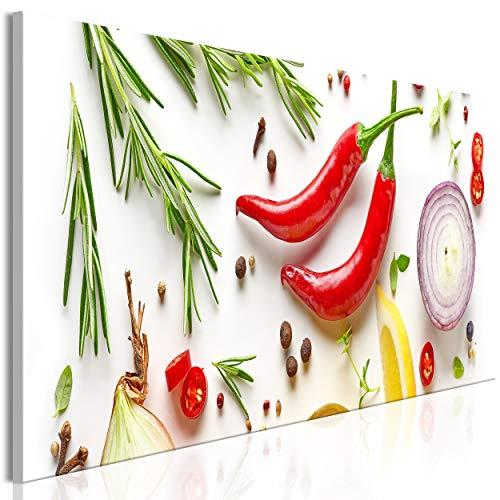 decomonkey Bilder Küche 120x40 cm 1 Teilig Leinwandbilder Bild auf Leinwand Vlies Wandbild Kunstdruck Wanddeko Wand Wohnzimmer Wanddekoration Deko Paprika Kräuter Gewürze